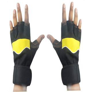 Faynci Leather Bike Riding /Sports / Gym / Weight Lifting / Cycling Gloves for Boys, Men, Women, color Yellow/ Black.