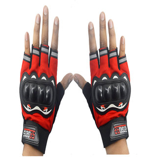 Faynci  Sport Half Cut Gloves Red XL Size Driving Gloves