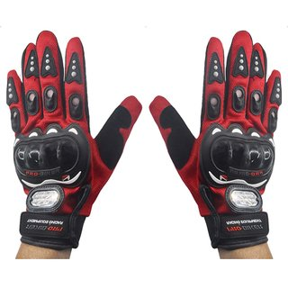 Motorcycle Riding Full Finger Driving Gloves (XL, Red)