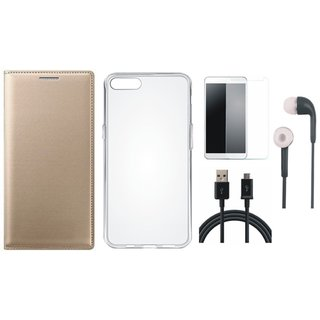 Samsung J5 Prime Premium Leather Cover with Silicon Back Cover, Earphones, Tempered Glass and USB Cable