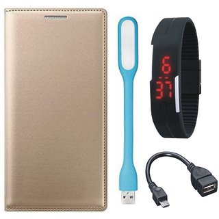 Samsung J5 Prime Premium Leather Cover with Digital Watch, OTG Cable and USB LED Light