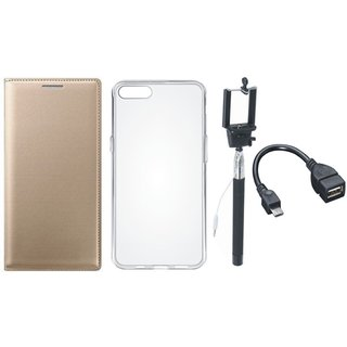 Samsung J5 Prime Premium Leather Cover with Silicon Back Cover, Selfie Stick and OTG Cable