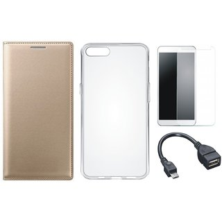 Samsung J5 Prime Premium Leather Cover with Silicon Back Cover, Tempered Glass and OTG Cable