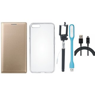 Samsung J5 Prime Premium Leather Cover with Silicon Back Cover, Selfie Stick, USB LED Light and USB Cable