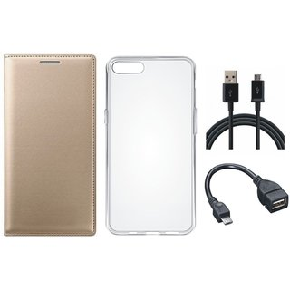 Samsung J5 Prime Premium Leather Cover with Silicon Back Cover, OTG Cable and USB Cable