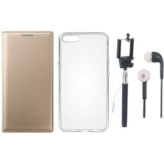 Samsung J5 Prime Premium Leather Cover with Silicon Back Cover, Selfie Stick and Earphones