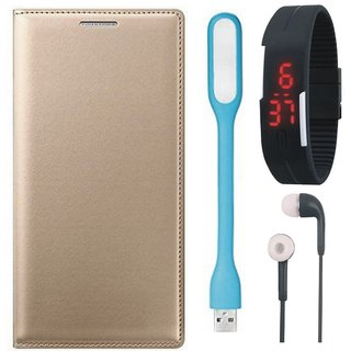 Samsung J5 Prime Premium Leather Cover with Digital Watch, Earphones and USB LED Light