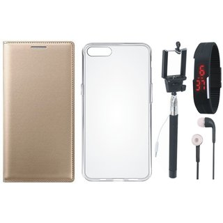 Samsung J5 Prime Premium Leather Cover with Silicon Back Cover, Selfie Stick, Digtal Watch and Earphones