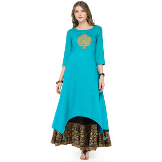 Varanga Teal Viscose Rayon Embroidery Kurta With Skirt