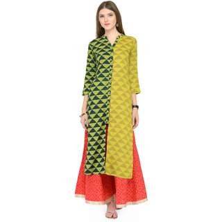 Varanga Women's Green Stitched Prined Kurta