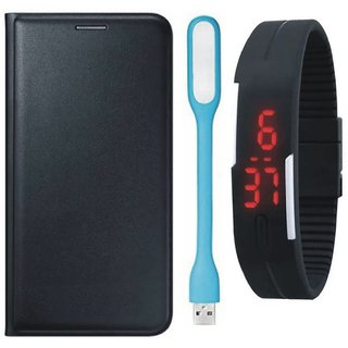 J5 Prime Stylish Cover with Digital Watch and USB LED Light