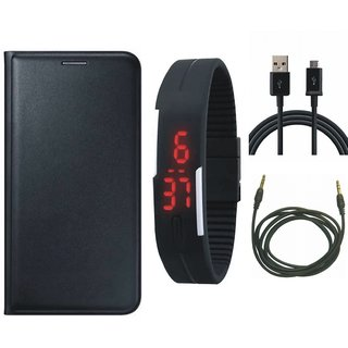 J5 Prime Stylish Cover with Digital Watch, USB Cable and AUX Cable