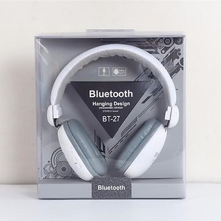 5e6ddb604af BT-27 Wireless Bluetooth Headphones Stereo Subwoofer with Mic (White)
