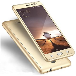 Brand Fuson i PAKY 360 Degree Full Protection (I Paky Style) Front Back Cover Case with Tempered Glass For Redmi 4A Gold Color