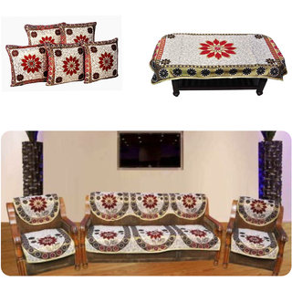 Manvi Creations poly cotton sofa cover (10), cushions ( 5) and table cover (1)
