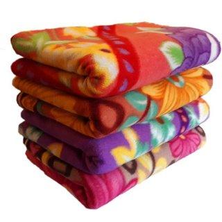 Krishan Enterprises Floral Single Bed Blanket Multicolor ( Pack of 4 ) ( 60 x 90 )