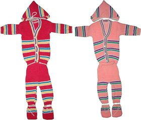 Infant New Born Baby Woolen Sweater Suits 4Pc Set (Top+Bottom+Cap+Mittens)
