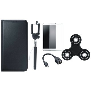 Samsung J7 Prime Leather Flip Cover with Free Spinner, Selfie Stick, Tempered Glass and OTG Cable