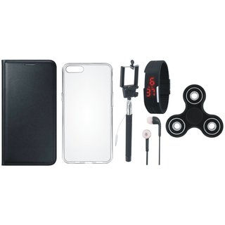 Samsung J7 Prime Leather Flip Cover with Spinner, Silicon Back Cover, Selfie Stick, Digtal Watch and Earphones