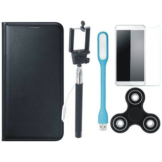 Samsung J7 Prime Leather Flip Cover with Free Spinner, Selfie Stick, Tempered Glass, and LED Light