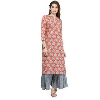 Varanga Peach Pure Cotton Printed Kurta  VAR21114