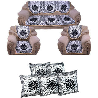 Manvi Creations Black Siver Sofa Cover With Cushion Cover