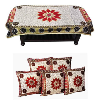 Manvi Creations Sunflower Design 4 Seater Table Cover With 5 Cushion Cover