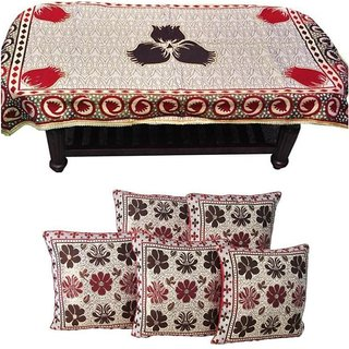 Manvi Creations floral design 4 Seater Table Cover With 5 Cushion Covers