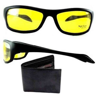 AFIYA Wallet And Night Drive Sunglases (Pack Of 2)