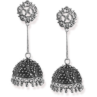 Zaveri Pearls Dome Shaped Hanging Jhumki with Silver Bead Drops Earring-ZPFK6562