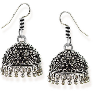 7bed1abaf87 Zaveri Pearls Dome Shaped Jhumki with Silver Bead Drops Earring-ZPFK6549