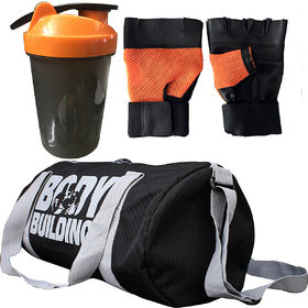 CP Bigbasket Combo Set Polyester 40 Ltrs Black Sport Gym Duffle Bag, Gym Shaker (400 ml), Gym  Fitness Gloves (Orange)