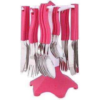 Roxa Cutlery Set Pink (Set of 24 Pcs)