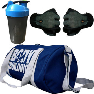 CP Bigbasket Combo Set Polyester 40 Ltrs Black Sport Gym Duffle Bag, Gym Shaker (400 ml), Netted Gym  Fitness Gloves (G