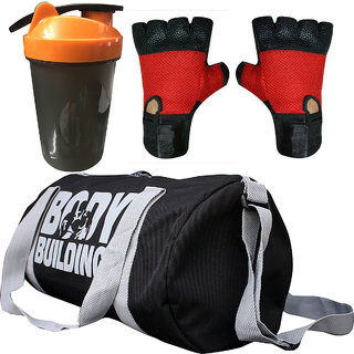 CP Bigbasket Combo Set Polyester 40 Ltrs Black Sport Gym Duffle Bag, Gym Shaker (400 ml), Gym  Fitness Gloves (Red)