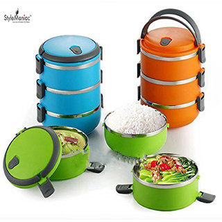 Style Maniac Fresh 3 layer Portable Stainless Steel and Thermal Insulation Lunch Box(Multicolor)