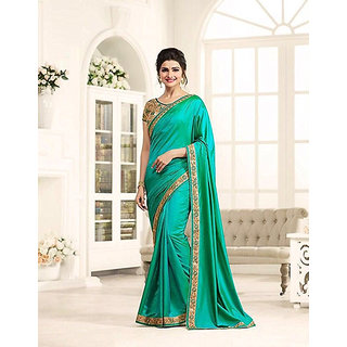 Green Paper Silk Designer Embroidery Saree