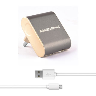 Ambrane ATC-44 2.4A Dual Port Fast Charger with Charge  Sync USB Cable