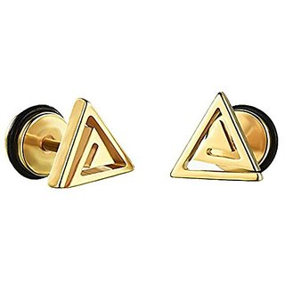 2pc Mens Womens Stainless Steel Classic Layer Gold Triangle Ear Helix, Lobe, Cartilage Stud Earrings