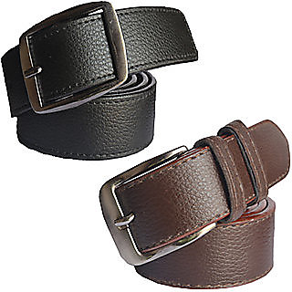 DLT Mens black and brown Leatherite needle pin point buckle belt (COMBO)