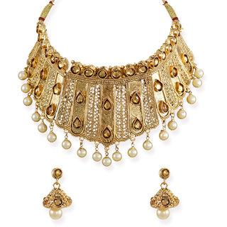 Zaveri Pearls Royal Look Traditional Choker Necklace Set -ZPFK6637