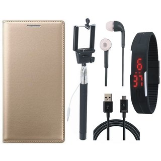 Coolpad Note 3 Leather Flip Cover with Selfie Stick, Digtal Watch, Earphones and USB Cable