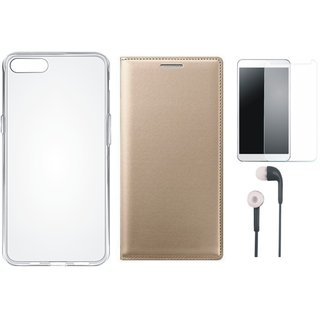 Coolpad Note 3 Leather Flip Cover with Silicon Back Cover, Earphones and Tempered Glass