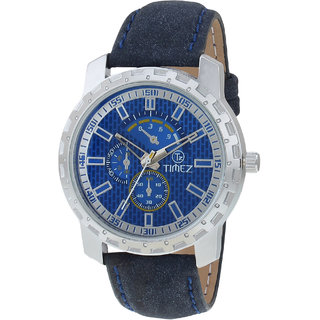 Analog blue dial mens watch