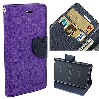 Brand Fuson Purple Mercury Goospery Fancy Diary Wallet Flip Cover For Motorola Moto E3 Power