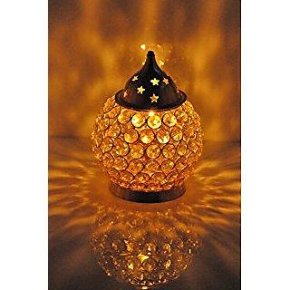 GoldGiftIdeas Brass Diamond Nag Deep Akhand Crystal Diya Oil Lamp, Home Decorative Diyas (11 x 11 x 17 CM)