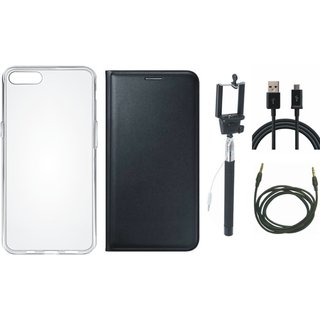 Coolpad Note 3 Premium Leather Cover with Silicon Back Cover, Selfie Stick, USB Cable and AUX Cable
