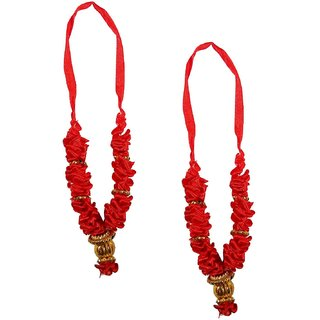 Beautifully Handcrafted Red Flower Satan/Garland Mala For Idol-3 Inches, Mala for God, Pooja Mala