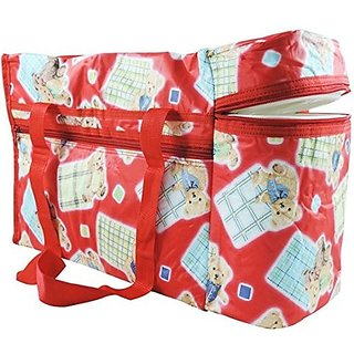 Wishkey Premium Multi Purpose Teddy Bear Printed Red Nursery Bag