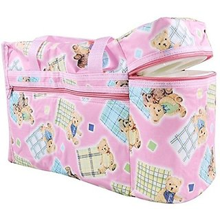 Wishkey Premium Multi Purpose Teddy Bear Printed Pink Nursery Bag